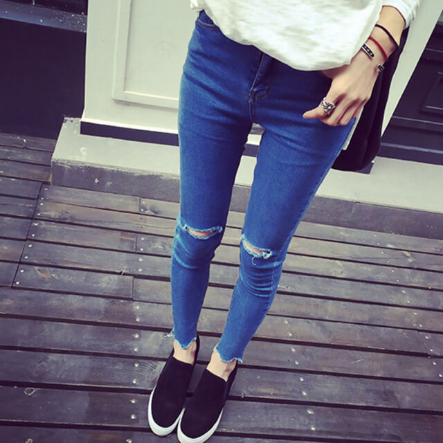 Sexy Womens Ripped Hole Jeans Bodycon Casual Denim Jogger Pencil Pants Trousers