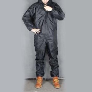Men-Work-Black-One-piece-Motorcycle-Waterproof-Raincoat-Overalls-Rain-Suit-PVC