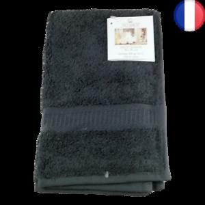 Lot de 2X Serviette de Toilette invité main 30 x 50 cm 100% Coton 600gr/m2 Gris
