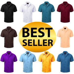 Guayabera-Men-039-s-Cuban-Beach-Wedding-Short-Sleeve-Button-up-Casual-Dress-Shirt