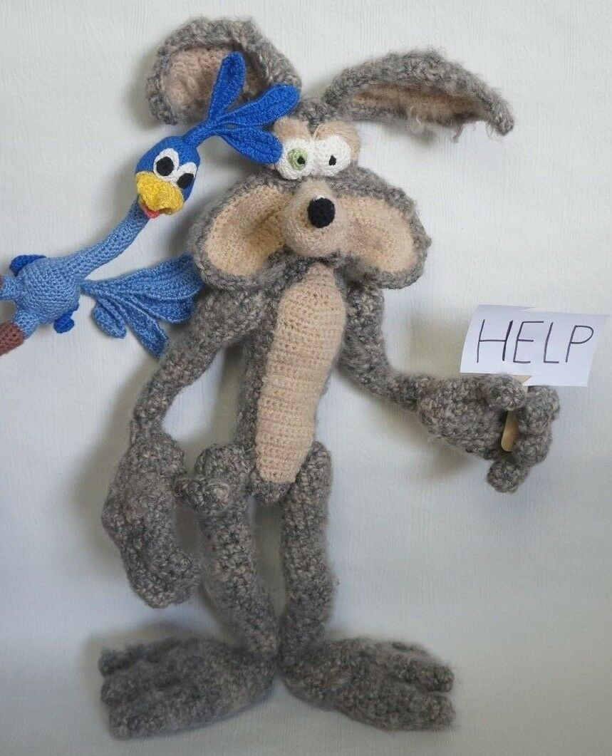 Puppe Puppe Puppe Amigurumi Road Runner Wile E. Coyote Handarbeit gehäkelt Deko UNIKAT 19e3ff