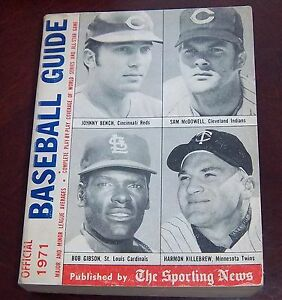 the sporting news baseball guide 1971 Johnny Bench, Bob Gibson