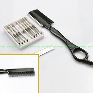 2in 1 Stylist Barber Comb + Razor Shaving Hair Cut Sharper +10 Dentate ...