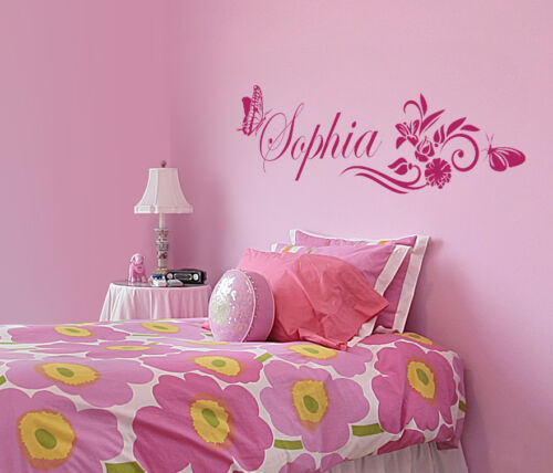size #1104 Personalized Kids Custom Butterfly Vinyl Name Wall Decal pick color