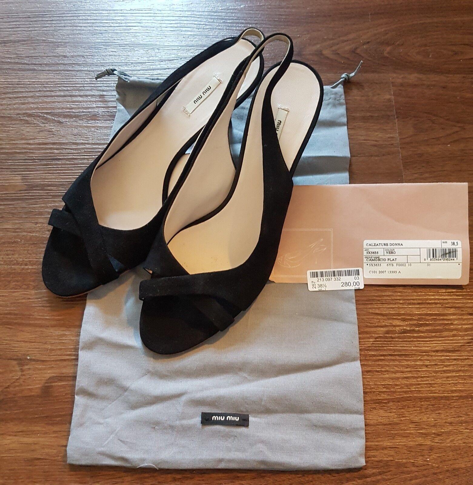 Miu Miu schwarz Schuhe Sandalen Sandaletten Sommer Leder schwarz Miu neuwertig Gr. 38 3d130a