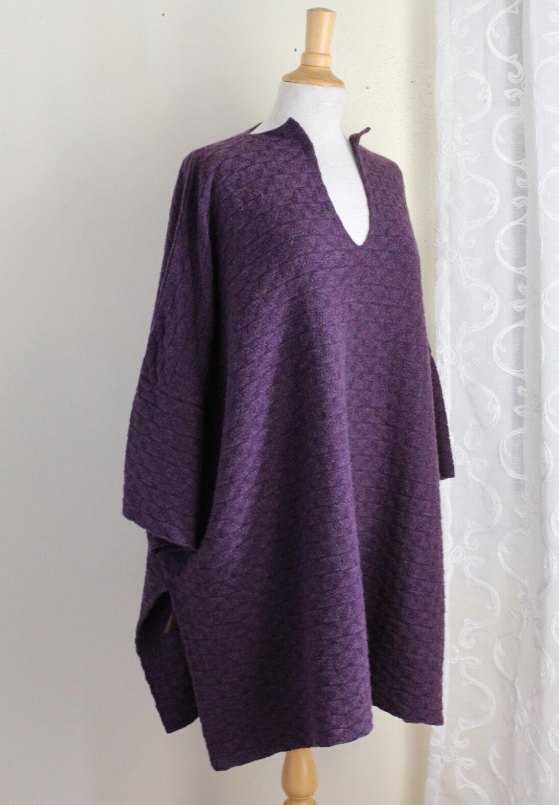 NEW Eskandar PURPLE Poncho 32 LONG Boxy 100% Cashmere Tunic Sweater O S