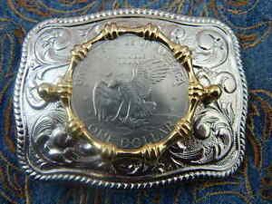 style vintage antique argenté aigle boucle de ceinture cow-boy Western Buckle