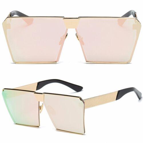 Women Oversized Square Sunglasses Glasses Lens Vintage Flat Rimless Retro Cool