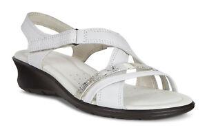 4001dccb8e09 NIB ECCO Women s Felicia Leather White Gravel Sandals Size 10-10.5 M ...