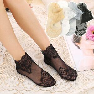 Summer Women Thin Cotton Non-slip Socks Socks  Mesh Sock Lace Flower Short Ankle