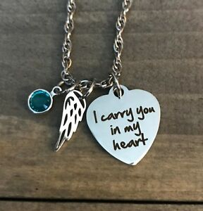 memorial necklace Personalized name Angel wing child daughter son mother loss
