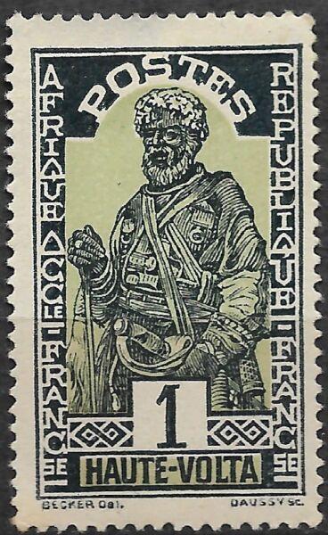 Alto Volta 1928. Los Hausa. 1 C. Verde/azul Oscuro. Sw43