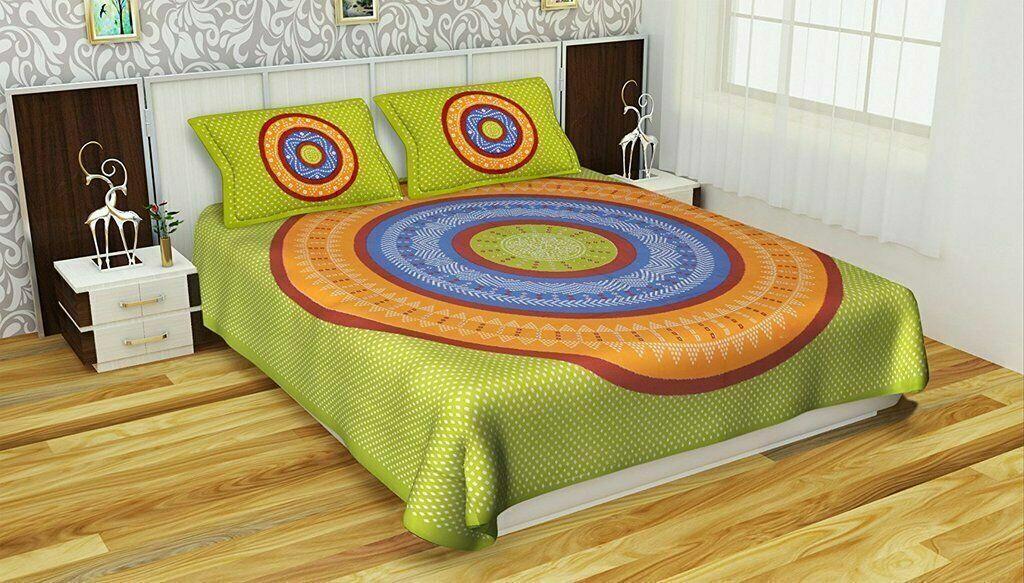 Modern Desginer Bedruckte Baumwolle Doppel Bett Blatt Mit 2 Kissenbezug 90x108