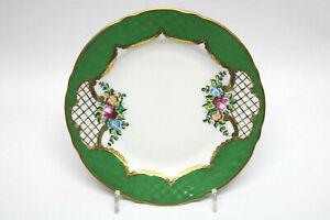 Porzellan-Teller-Gruen-Blumen-Josef-Kuba-Wiesau-Karlsbad