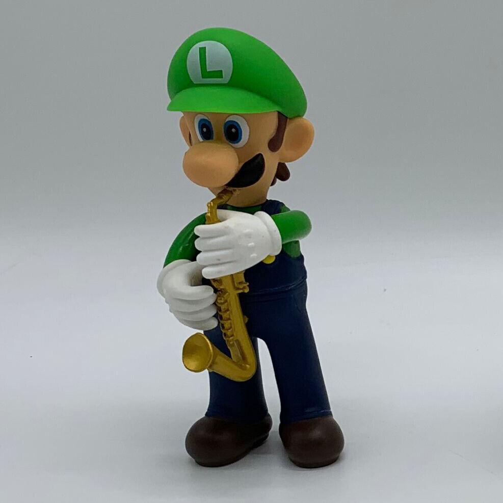 """New Super Mario Bros Saxophone Music Luigi Figure Toy Plastic Vinyl Doll 5.25/"""""""