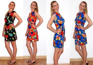 New-Lady-Women-039-s-Summer-Floral-Print-Stretch-Dress-size-12-16-UK-seller