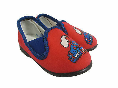 Children's Rojo, Diseño De Tren Resbalón en Zapatillas Tamaño 4 Infantil