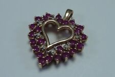 3.5 Gram 10K Yellow Gold  Heart Shaped Pendant with Diamonds and Rubies