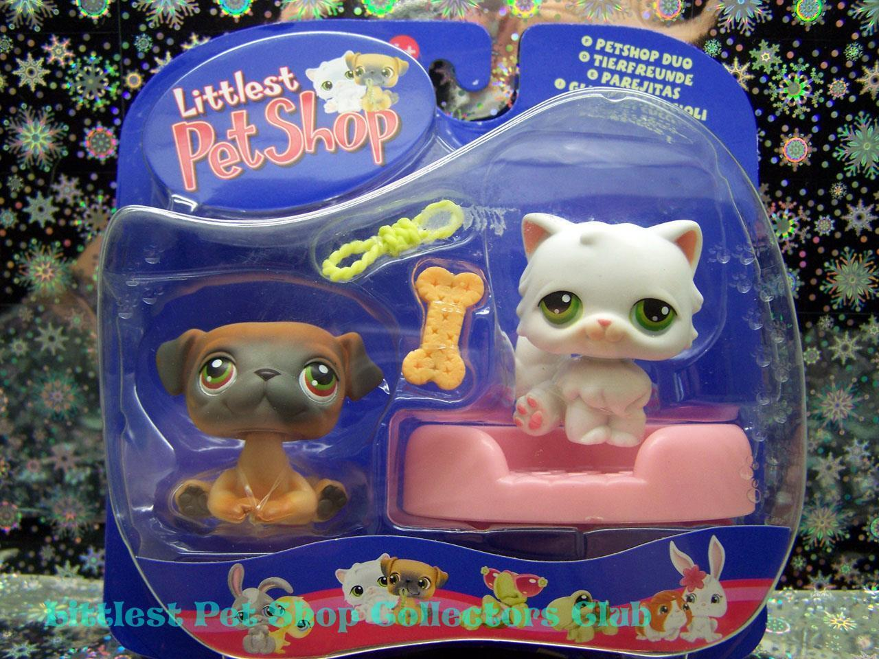Littlest Pet Shop International PUG lot PERSIAN CAT Rare NIB 1st 80 Pets