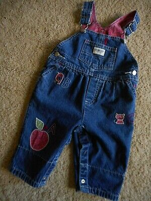 Vintage Oshkosh Overall 3-6 Mo Denim Kitty Abc Stick People Snap Crotch Faded One-pieces