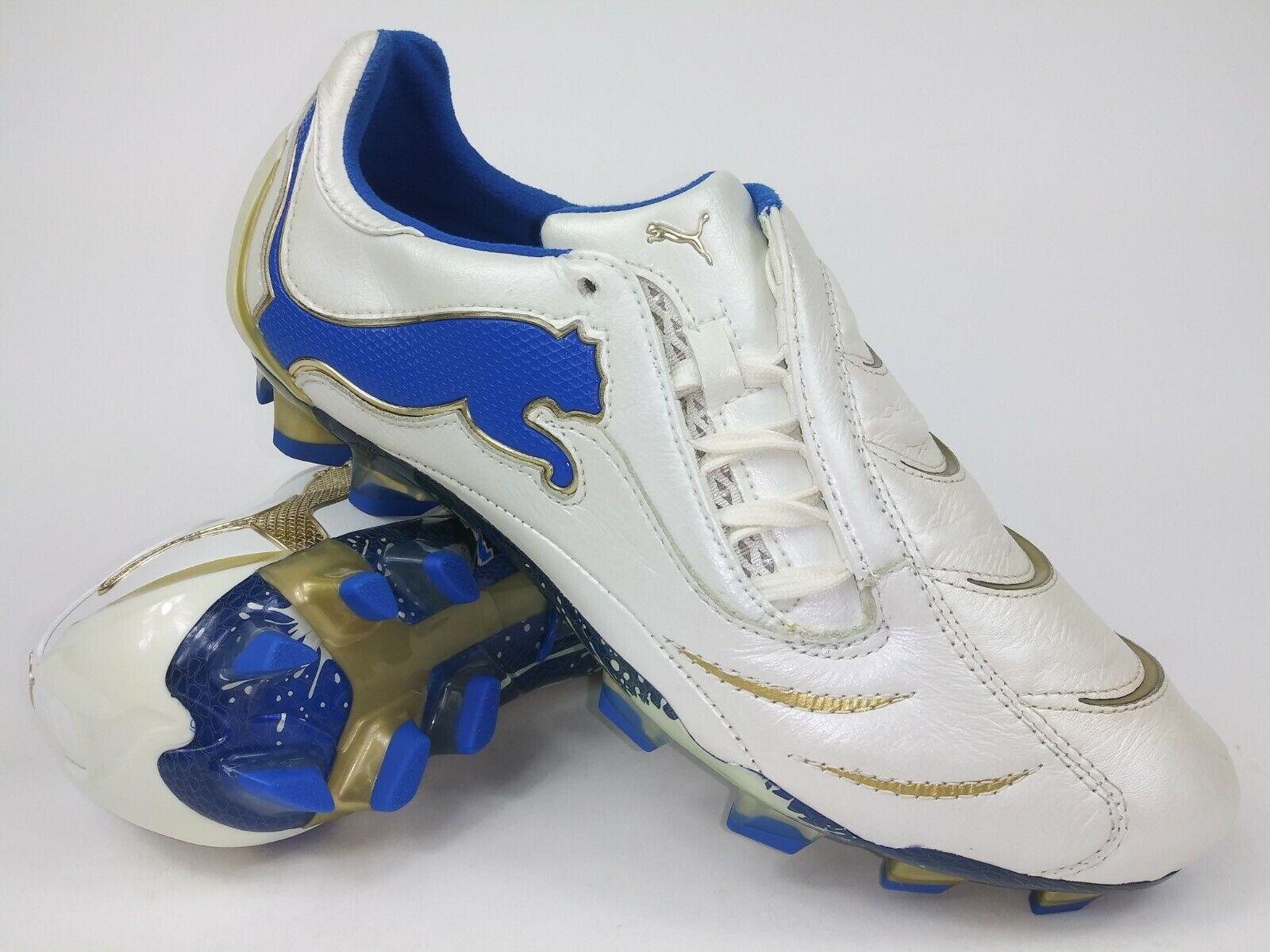 Zapatos Puma De Hombre Raro Powercat 1.10 FG 101898 02 Dorado blancoo Botines De Fútbol