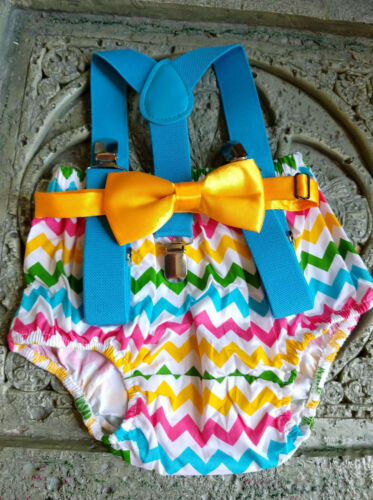 1st Birthday boy cake smash outfit diaper cover Multcolor rainbow chevron Summer