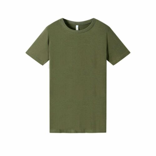 Womens Short Sleeve Bamboo Cotton Blend Khaki Green Tee with UPF 50 Protection