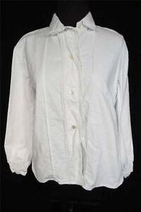 RARE-VINTAGE-ANTIQUE-FRENCH-EDWARDIAN-ERA-1920-039-S-WHITE-COTTON-BLOUSE-SIZE-LARGE