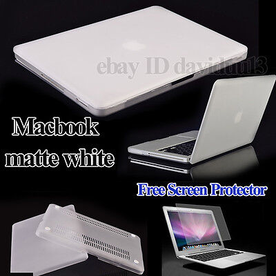 White Frosted Rubberized hardshell Case Cover Apple Macbook + screen protector