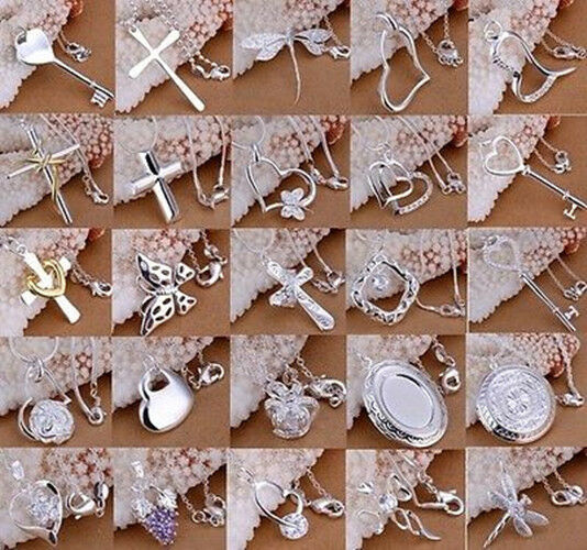 Wholesale Solid 925Sterling Silver Jewelry Pendant Necklace Chain Jewellery xmas