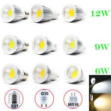 2/10Pcs 6W/9W/12W E27/GU10/MR16 Dimmable COB LED Spot Down Light Lamp Warm/White