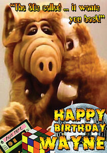 1980s Spoof Alf 80s Personalised Greeting Happy Birthday Card