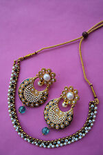 Ethnic Fashion Polki Jewelry Designer Indian Bollywood Pearl Kundan Neclace Set