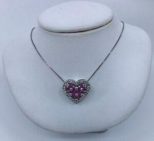 14k-White-Gold-Ruby-amp-Diamond-Heart-Pendant-Necklace