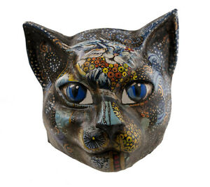 Maschera Veneziano Gatto-Verniciato Fatto a Mano IN Carta Mache-Grande Modello