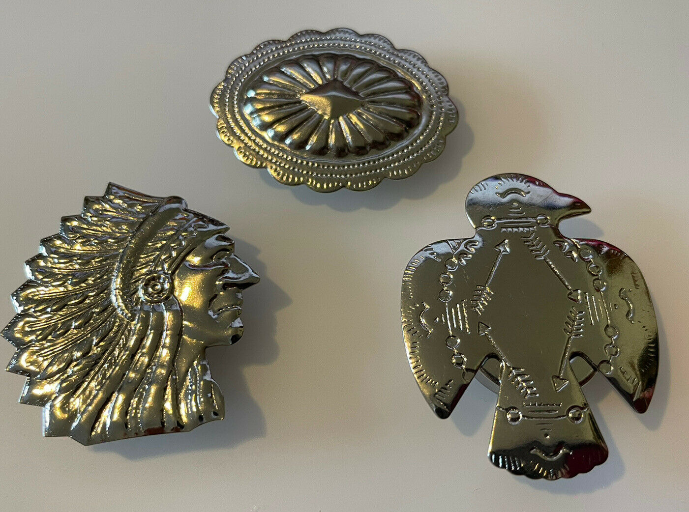 Silver Tone Southwest Button Covers Thunderbird Concho Indian Head Set of 3 New