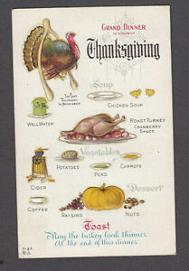 Vintage-Thanksgiving-Postcard-Grand-Dinner-Meal-Menu-Food-Turkey-Embossed-s923