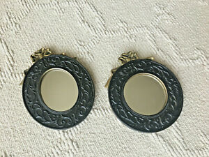 Vintage-Ribbon-Topped-2-Wall-Mirror-Gold-Black-Painted-Victorian