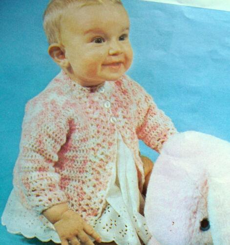 "#89 Baby Girls Pretty Crochet Cardigan 3 to 6mth 19/"" 48c Vintage Crochet Pattern"