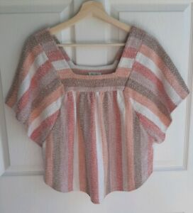 Madewell Texture & Thread Womens Sherbet Stripe Butterfly Top Shirt Size Small