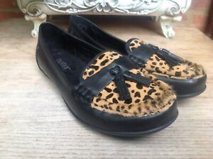 HOTTER-ABBEYVILLE-LEOPARD-PONYSKIN-AND-BLACK-REAL-LEATHER-SHOES-SIZE-UK-5