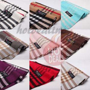 Men-Women-100-CASHMERE-Scarves-Check-Tartan-Plaid-Wrap-Scarf-Winter-Warm