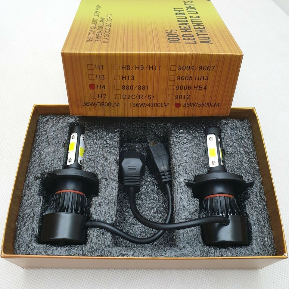 Lys og lygter, H7 LED 360° 4-SIDET LED COB 11000LM / 6500K /