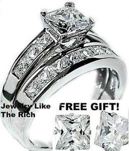 14k solid white gold Man Made Diamond women engagement   wedding ... 117ac866ed