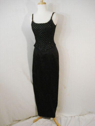 Gunne Sax Black Formal Evening Wear Dress Rhinest… - image 1