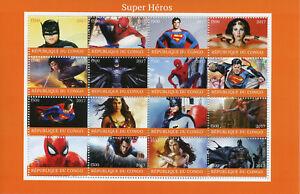 Congo 2017 Cto Superhéros Spiderman Superman Batman Wonderwoman 16 V M/s Timbres-afficher Le Titre D'origine Longue DuréE De Vie