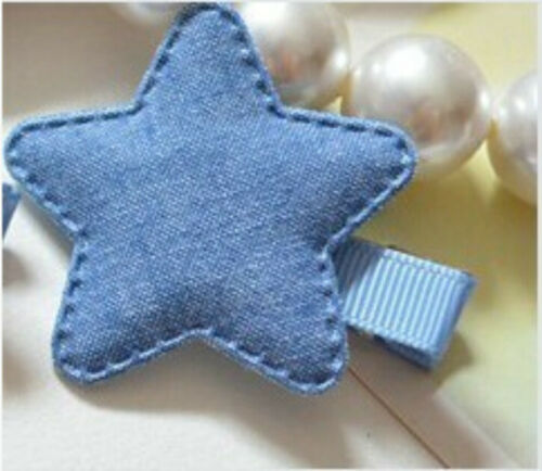 2PCS Denim  Kawaii Girl Kids Headwear Star Hair Clip Hairpin Accessories FC