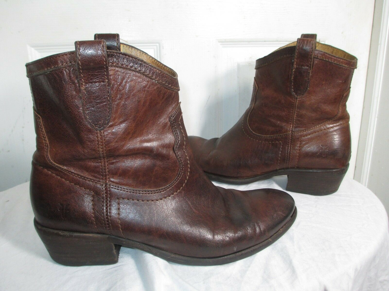 FRYE CARSON SHORTIE 76673 WOMEN'S BROWN WASHED ANTIQUE PULL ON ANKLE BOOTS 10 B