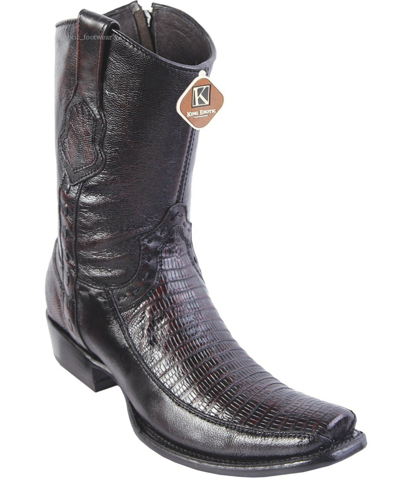 Men's King Exotic Genuine Teju Lizard With Deer Western Boots Inside Zipper