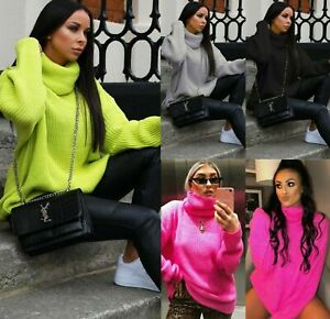 Women-Ladies-Chunky-Knitted-High-Polo-Roll-Neck-Baggy-Oversized-Jumper-Dress-Top